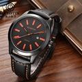 Relojes de Cuarzo de los hombres Top Famosa Marca de Lujo de Cuero Genuino Impermeable Del Deporte Relojes Hombres Mano Reloj Relojes hombre horloge