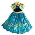 Promoción al por menor 2017 1 unid Nueva Anna Vestidos de Niña Con el Girasol Para Elsa Princesa Del Vestido de Fiesta de Cumpleaños Para Niños Ropa 4-8y