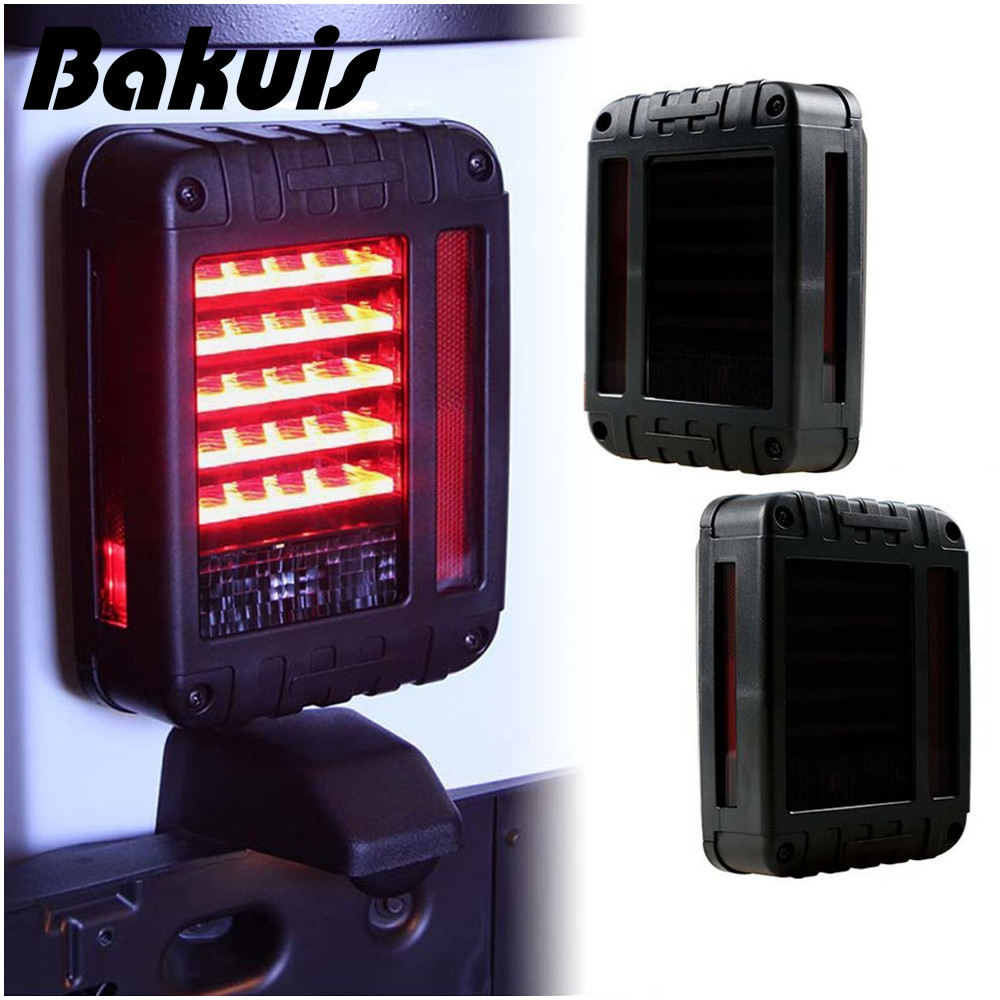 Bakuis For Jeep Wrangler JK JKU Smoke Lens Red LED Tail Light Assembly w/ Turn Signal & Back Up Led Taillights led tail light assembly w turn signal