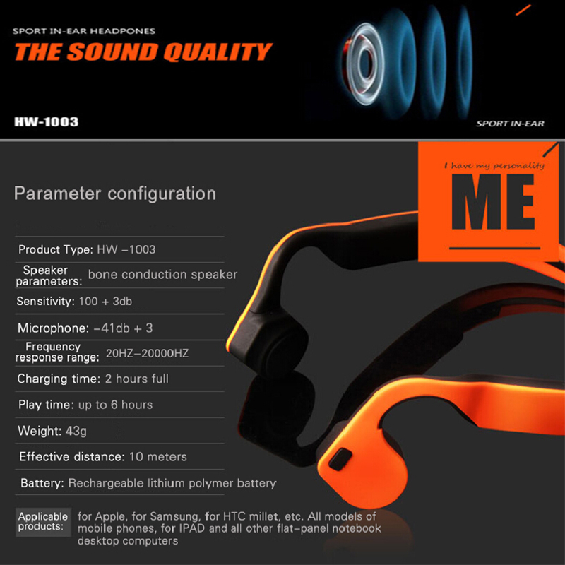 Bone Conduction Stereo Wireless Bluetooth Headphones waterproof sports Hifi headsets with microphone Support Hands Free Call  (8)