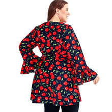 Women's Casual Long Blouse with Cherry Print