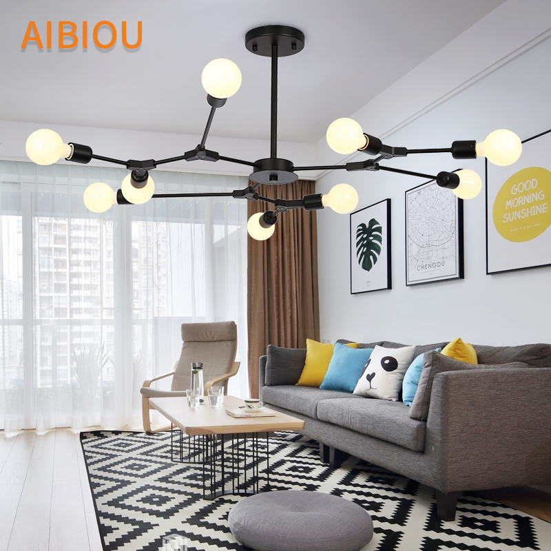 AIBIOU LED Chandelier With Matel Lampshades For Living Room Modern Ceiling Mounted E27 Chandeliers Dining Lighting Fixtures modern crystal chandelier hanging lighting birdcage chandeliers light for living room bedroom dining room restaurant decoration