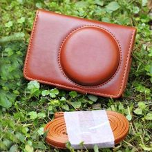 Brown PU LEATHER Case Bag w/Strap para Canon S90 S95 SX120 SX150 SX200 SX210 SX220 SX230 SX240 SX260(China)