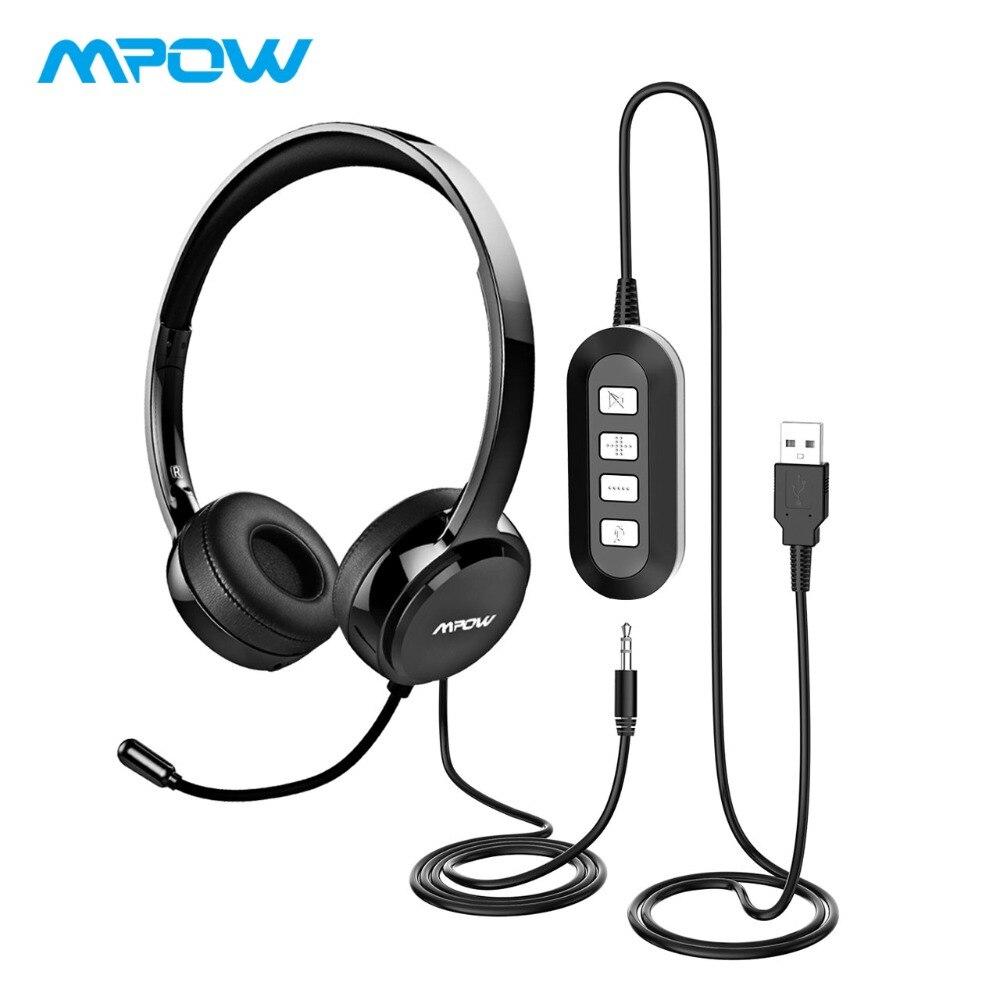 Mpow Cuffie Con Cancellazione del Rumore Cristallina del Suono Con Il Mic    In-linea di Controllo Wired Cuffia Con USB AUX cavo Per Call Center 6254b862487d
