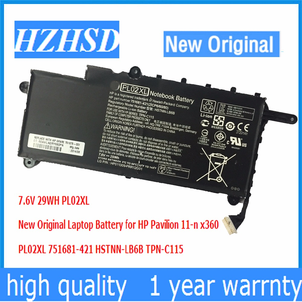 7.6V 29WH New Original PL02XL Laptop Battery for HP Pavilion