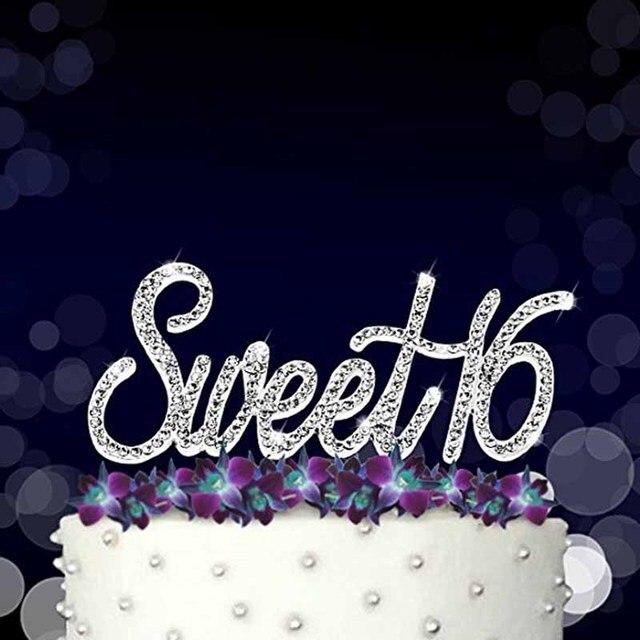 Gold Silver Rhinestones Sweet 16 Cake Topper Boy Girl 16th Birthday