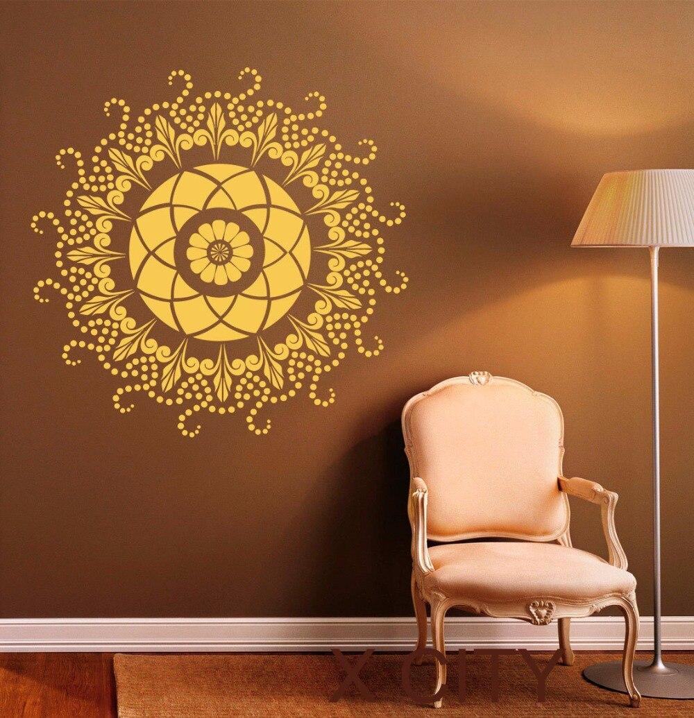 Car visor sticker designs - Round Mandala Wall Decal Indian Pattern Vinyl Stickers Namaste Yoga Home Interior Design Art Murals Bedroom Decor
