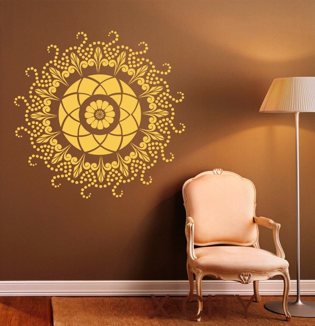 Round Mandala Wall Decal Indian Pattern Vinyl Stickers Namaste Yoga Home Interior Design Art Murals Bedroom