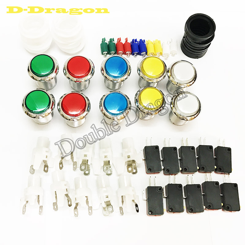 Jamma Arcade Switch Button 12V Led Illuminated CHROME Plated Push Button With Microswitch For DIY Game Parts Pause Start Credit