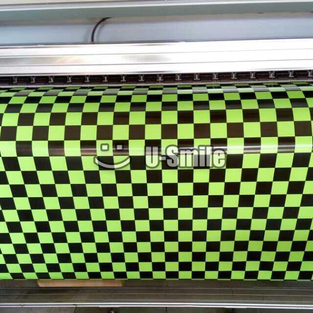 Черный и зеленый клетчатый пленкой полоской квадратной сетки крена винила воздуха пузырь бесплатно Размер:1.50*30m/рулон
