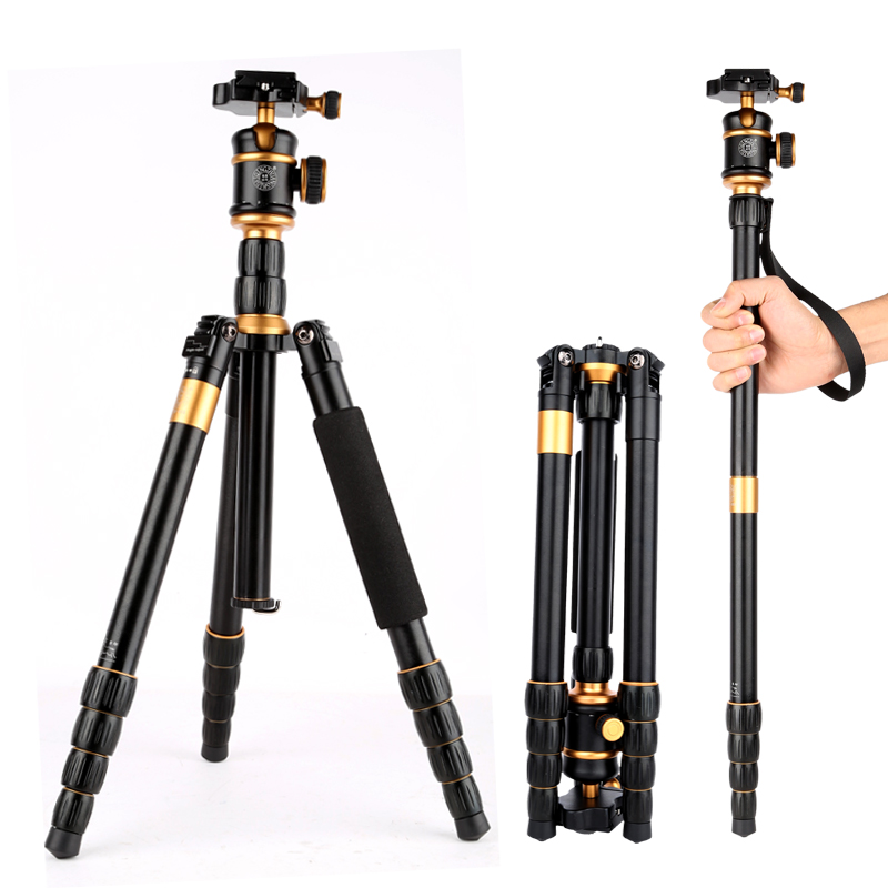 QZSD Q888 Pro Aluminum Alloy Monopod Tripod Portable Traveling Tripods Ball Head for Canon Nikon DSLR Digital Camera Tripe Q666 dhl free 2017 new professional tripod qzsd q999 aluminium alloy camera video tripod monopod for canon nikon sony dslr cameras