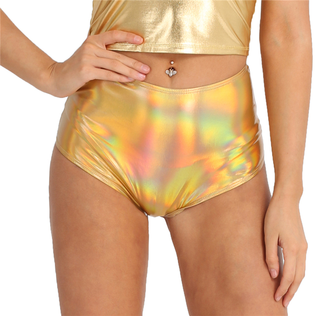 TiaoBug Fashion Women Shiny Metallic Faux Leather Zipper High Waist Pole Dance Shorts Rave Festival Clothing Sexy Lady Club Wear