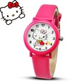 2017 Hello Kitty Cartoon Watches For Kid Girls Students leather Straps Wristwatch Analog hellokitty Quartz watch montre enfant