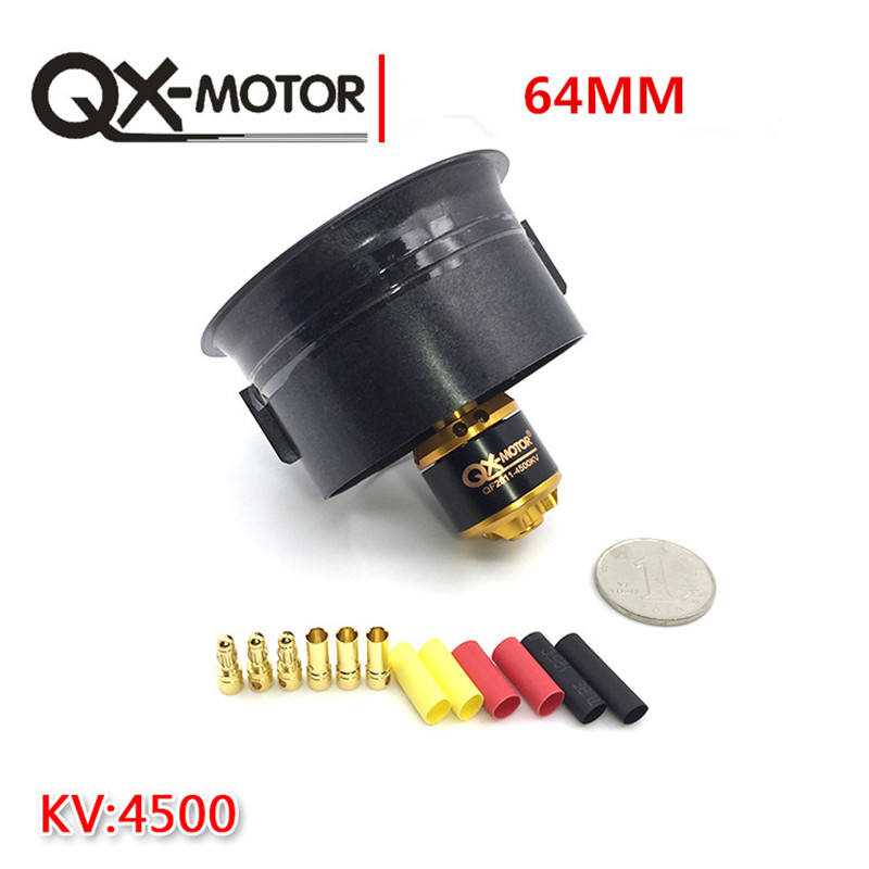 QX-Motor 64mm EDF 5 Blades Ducted Fan + QF2611 4500KV Brushless Motor for RC Airplanes 5 blade 64mm outrunner ducted fan 4300kv brushless motor 30a esc for lipo rc jet edf plane airplane fan
