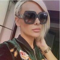 HOKU Luxury Brand Designer Italian Big Crystal Sun Glasses Square Oversized Women Sunglasses Retro Rhinestone Shades