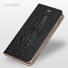 LANGSIDI brand mobile phone shell crocodile head clamshell phone case For Xiaomi Mi 6 leather phone case full hand-made