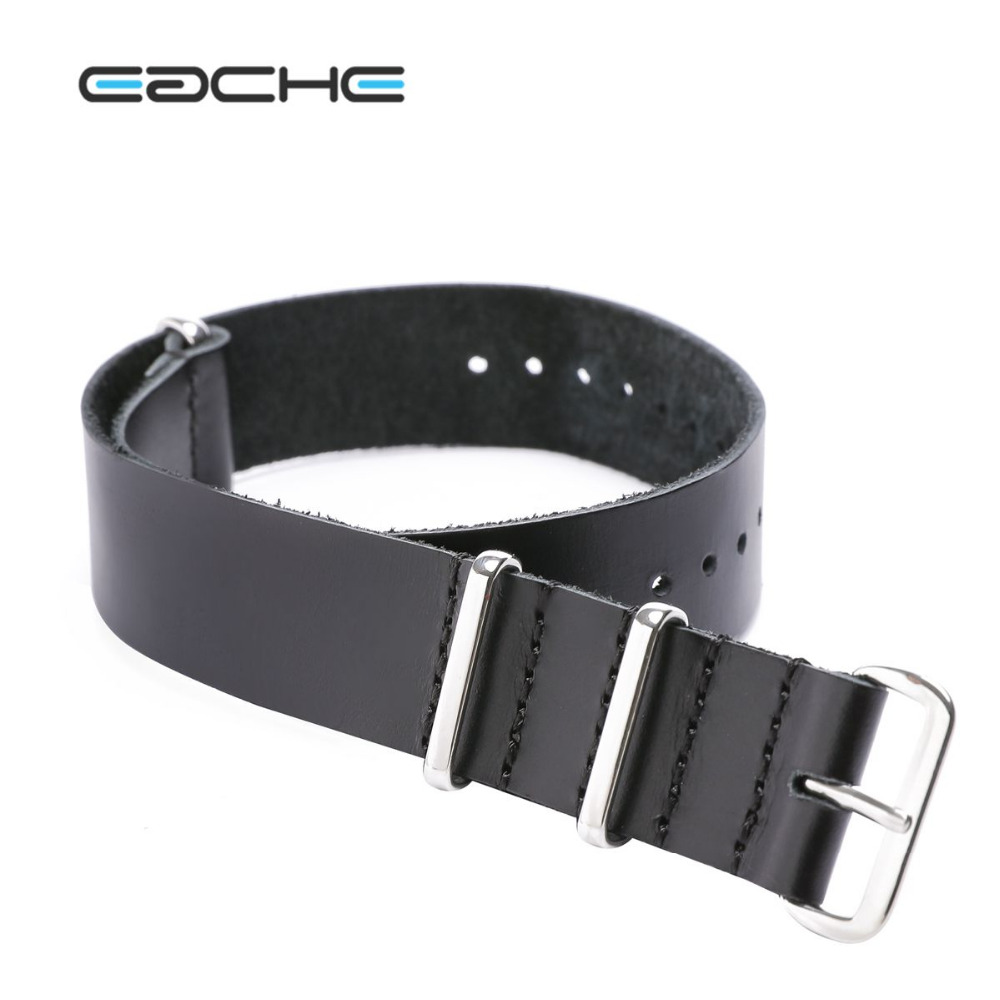 EACHE Nato Long Strap Genuine Leather Watch Strap 270mm Dark Brown Black 20mm 22mm Watch Band Silver&Black Buckle/Rings In Stock eache 20mm 22mm 24mm 26mm genuine leather watch band crazy horse leather strap for p watch hand made with black buckles