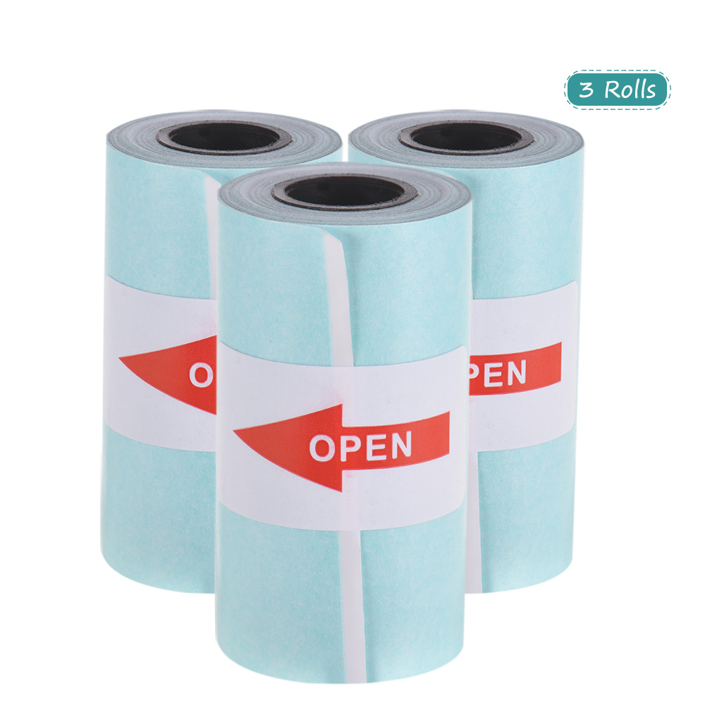 3 Rolls White Printable Sticker Paper Roll Direct Thermal Paper with Self-adhesive 57*30mm(2.17*1.18in) for PeriPage