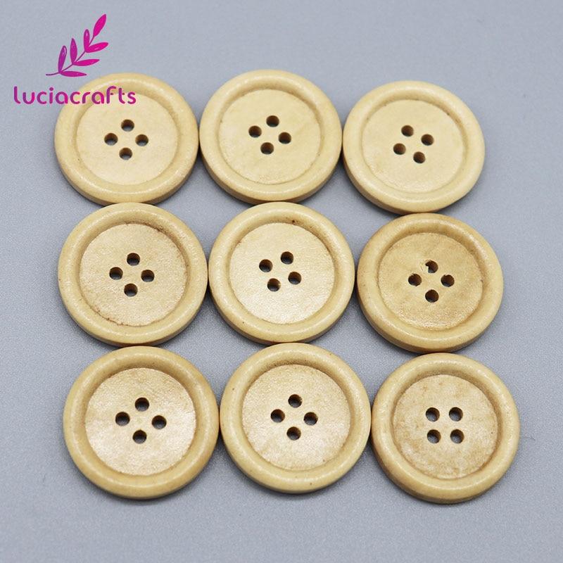 Распродажа! Lucia crafts 12 шт./лот 25 мм с 4 отверстиями натуральный Цвет круглый деревянных, прошитых альбомов ручной работы кнопки DIY одежды материалы для скрапбукинга CH1236 - Цвет: Color 2