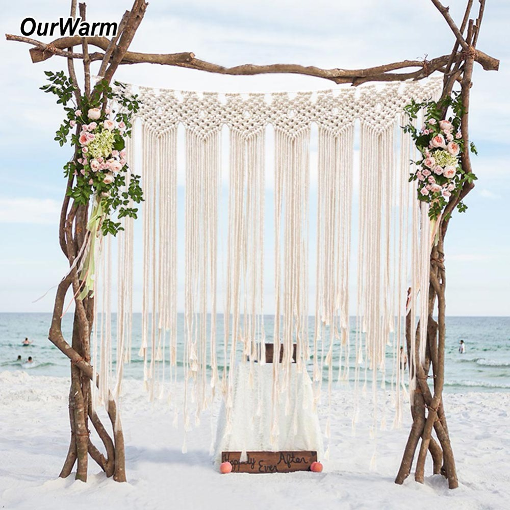 OurWarm 1*1.15M Boho Wedding Backdrop Party Photo Booth Macrame Cotton Rope Tassel Curtain for Home Room Wall Hanging Decoration