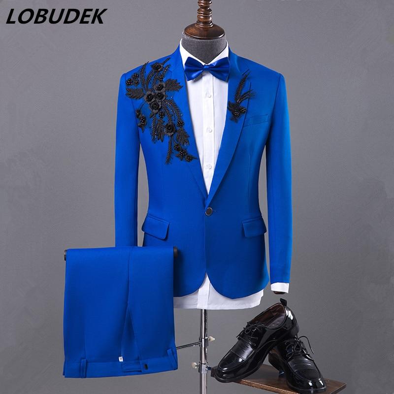 (jacket+pants) Male Suits Prom Party Blazers Costume Singer Dancer Show Fashion Men's Slim Suit Host Stage Performance Suits