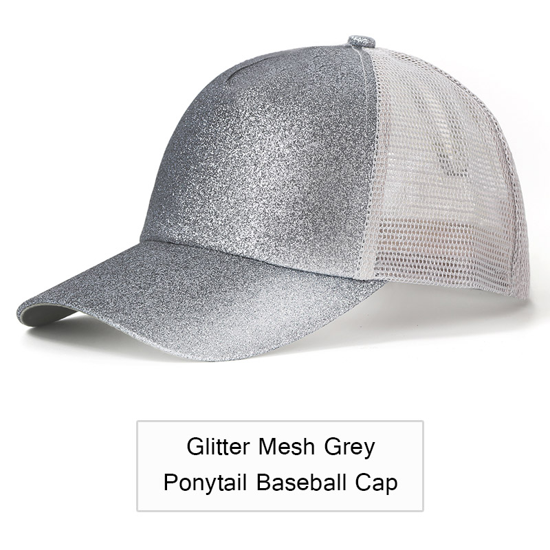 f07463e08f584 2019 Glitter Ponytail Baseball Cap Women Adjustable Messy Bun Caps Black  Hat Girls Casual Cotton Snapback Summer Mesh Hats-in Baseball Caps from  Apparel ...