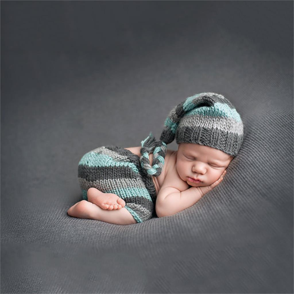 Baby Newborn Photography Props Handmade Knit Crochet Costume Striped Hat And Pants For 0 to 6 Months Girl Boy handmade crochet octopus hat squid tentacle ski mask wool knit cosplay winter funny costume beanie