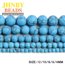 JHNBY Matte Blue calaite Natural Stone Round ball 4/6/8/10/12MM Loose beads for jewelry Finding making bracelet accessories DIY()