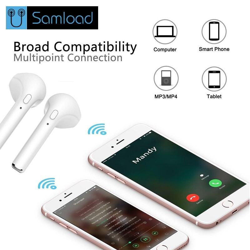 Samload i7 Tws Wireless Bluetooth Earphone Tws Bluetooth Earphone Stereo Headset  Earbuds Charging box for iPhone Samsung