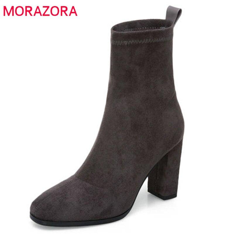 MORAZORA/2018 г. Высокое качество корова замша ботильоны без шнуровки Модные ботинки на высоком каблуке на осень-зиму теплая женская обувь черный