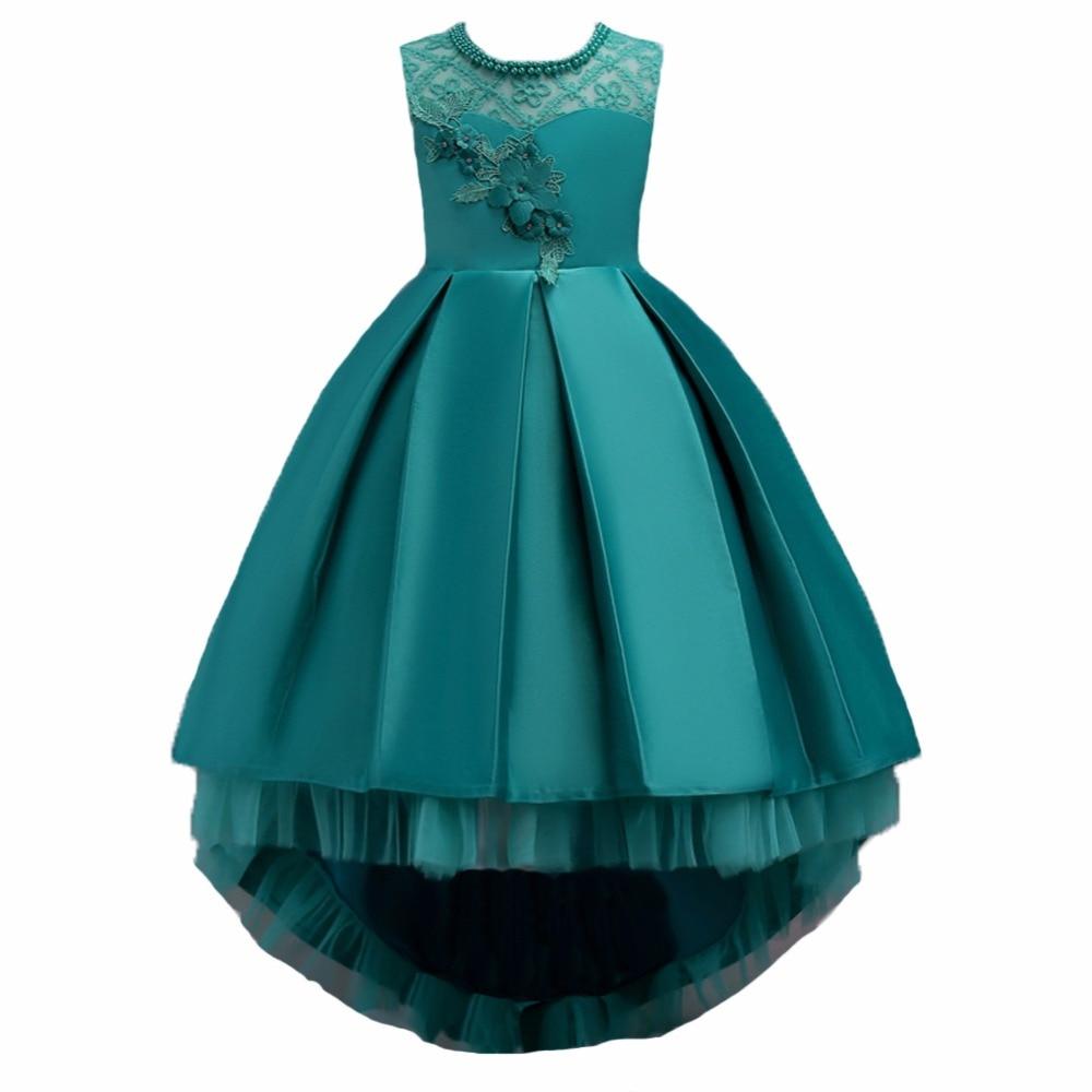 Quality Pretty Satin Flower hem trailing Girl Dresses 2018 Beaded Appliqued Dresses For Girls Kids Prom Dresses vestido daminha satin knotted hem surplice blouse
