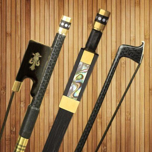 1 PC Strong Professional plaid Carbon fiber violin bow 4/4,good balance,nataul black Horsehair round stick  free shipping