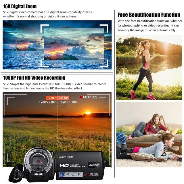 Andoer V12 1080P Full HD 16X Digital Zoom Recording Video Camera Portable Camcorder Max. 20 Mega Pixels 6