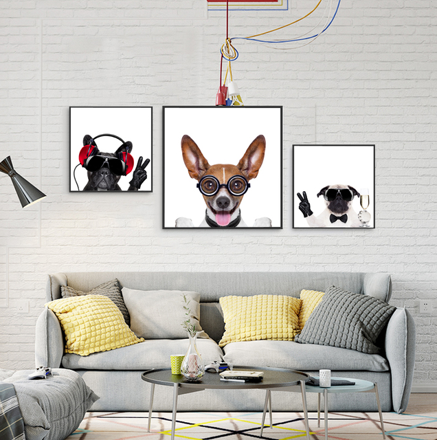 Modern Personalized Canvas Art Print Painting of Cute and Funny Pet ...
