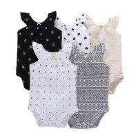 5 unids/lote Baby Girl bodysuit niños bebés niñas mono 2019 verano algodón sin mangas conjuntos generales Bebe Ropa para Niñas