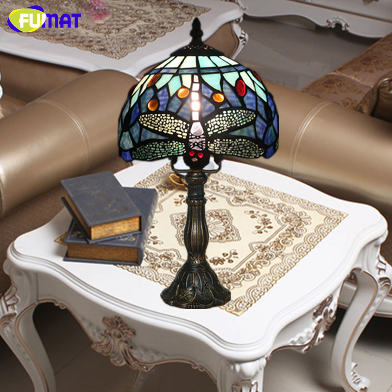 все цены на FUMAT Stained Glass Lamp Small Table Lamp Art Glass Lampshade Lamp Living Room Hotel Bedside Book Store Bar Decor Light Fixtures