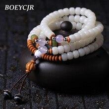 BOEYCJR  White Bodhi 108 Beads Bangles & Bracelets Handmade Jewelry Vintage Energy Beads Bracelet for Women or Men Gift 2018