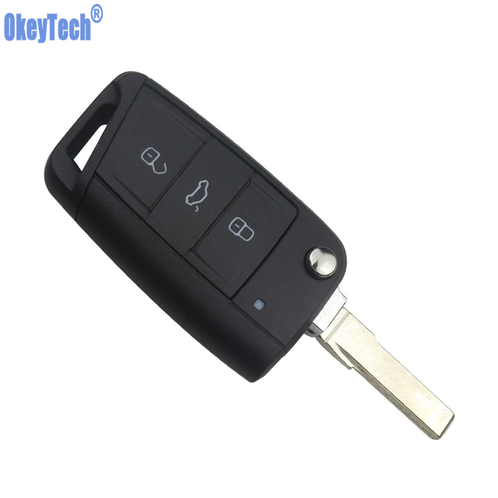 OkeyTech 3 Buttons Flip Folding <font><b>Key</b></font> Shell For VW <font><b>Golf</b></font> <font><b>7</b></font> GTI MK7 Skoda Octavia A7 Seat <font><b>Remote</b></font> Keyless Fob Case Auto Replacement image