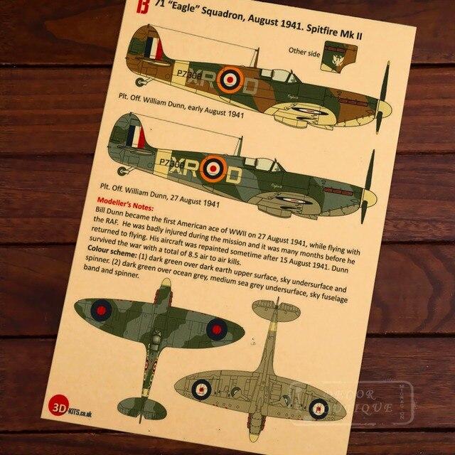 Map Of Eagle Squadron Spitfire Mk Classic Vintage Retro - Vintage aviation maps