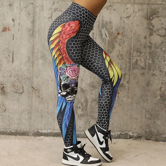 CHRLEISURE Honeycomb Skull Fitness Leggings Solid Color Sexy Fashion Print Leggings Polyester Wings High Waist Women Legging