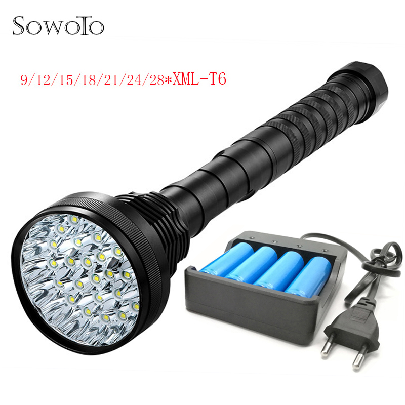 28 XML T6 Flashlight 55000Lm Powerful Waterproof Rechargeable LED Tactical Flashlight Camping Torch Flash Lamp Light