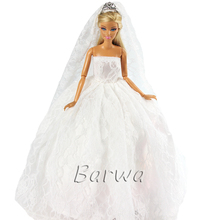 2019 New Wedding Dress Doll Princess Evening Party Clothes Wear Long Outfit Set For Barbie With Veil Accessories