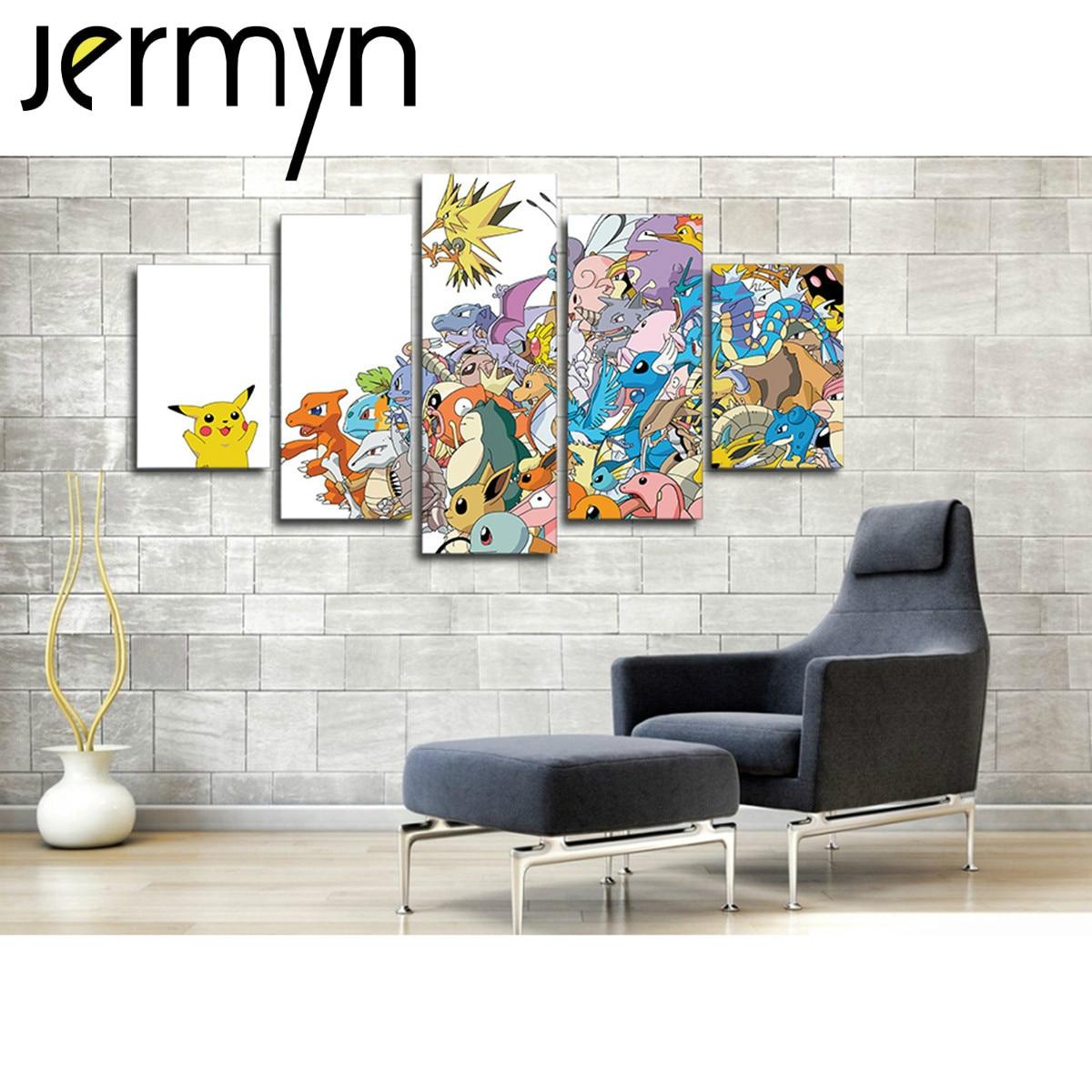 Jermyn 5 piece wall art pokemon go cartoon game pikachu for 5 piece mural