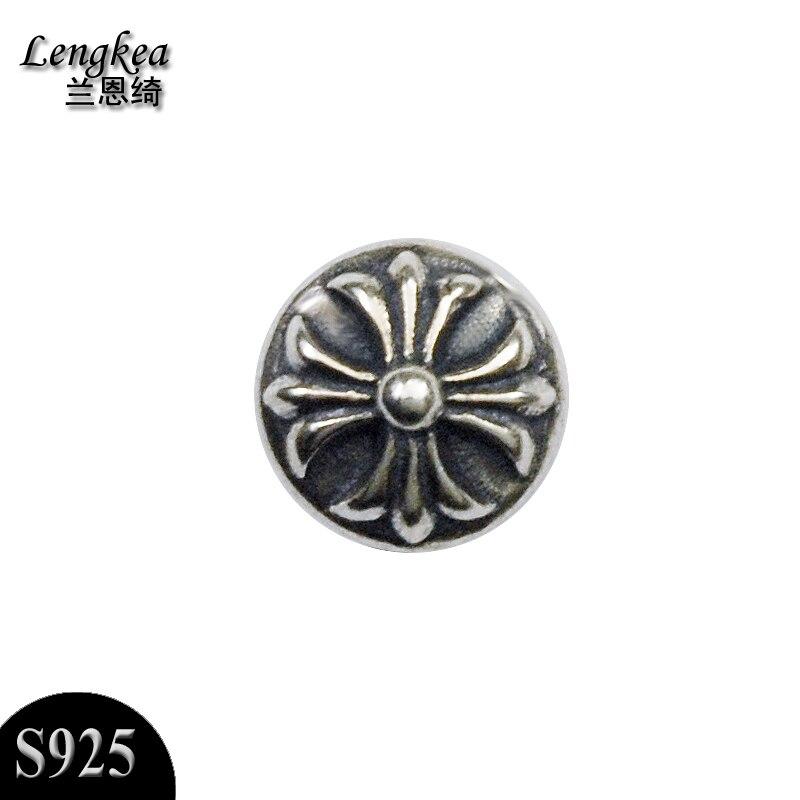 Livraison gratuite mâle unique 925 argent stud personnalité croix fleur hommes thai argent oreilles petits accessoires