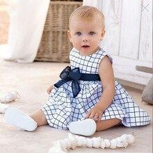 Vestido infantil de menina Vestido Da Menina Do Bebê vestido Xadrez Azul com arco Bebe Infantil 0-2 T bebê Recém-nascido sem mangas Verão vestidos de colete