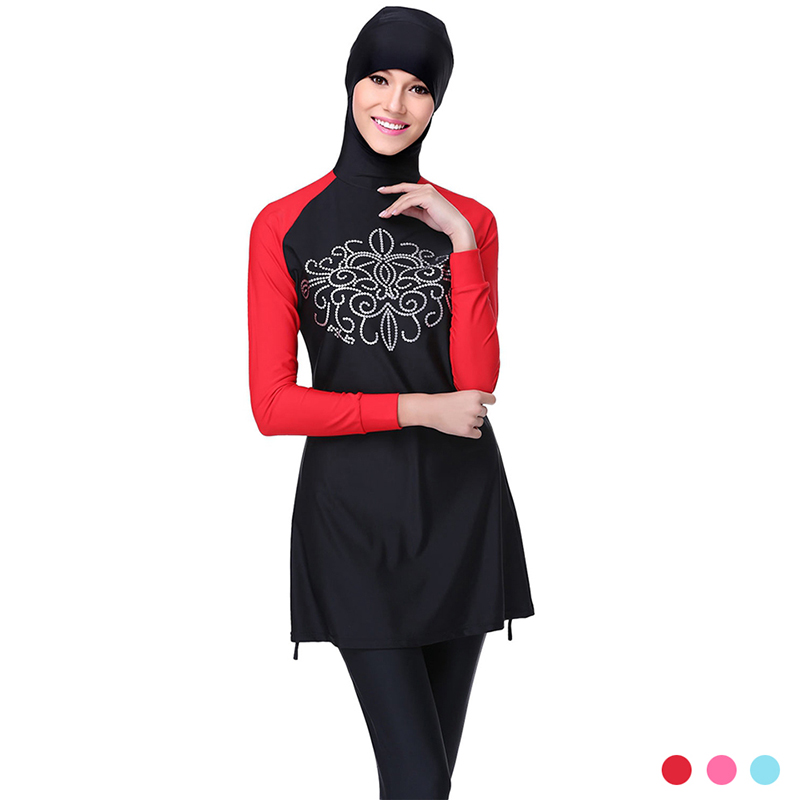 ФОТО Make Difference Islamic Swimsuits Plus Size Swimwear Full Cover Long Modest Islamic Hijab Swimwears Burkinis for Muslim Womens