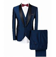 Men`s 3-Pieces Suit Slim Fit Shawl Lapel One Button Vested Dress Set Blazer