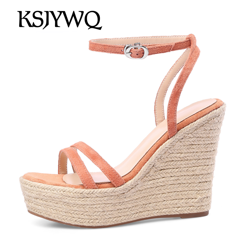 KSJYWQ Leather Women Platform Sandals 11 CM Super High Heels Thick Soles Woman Wedges Summer Open-toe Shoes Box Packing A18-28 woman sandals 2018 summer women concise bling open toe casual shoes woman fashion thick bottom wedges sandals