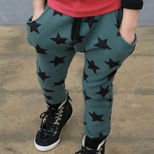 Toddler Boys Cotton Long Pants Stars Pattern Trousers Casual Bottoms Autumn