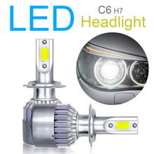 купить 2Pcs  H7 LED Auto C6 Car Headlight Bulbs 120W 10800LM 6000K COB LED Car Headlight Kit Light Hi /Lo Turbo Light дешево